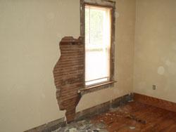 Plaster wall damage