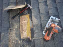 Roof deck and shingle repair