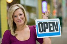 pretty women open sign